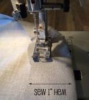 Sew 1 inch hem