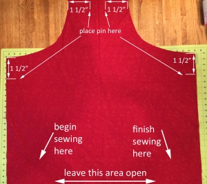 sewing pin placement