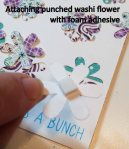 Attaching punched flower with foam adhesive