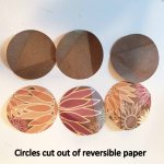 Circles cut out of reversible paper