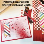 Patterned paper cut into different widths and lengths