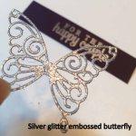 Silver Glitter Embossed Butterfly