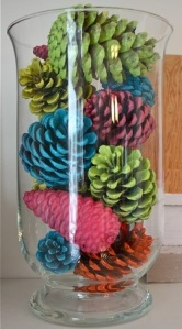 Spray-painted-pinecones